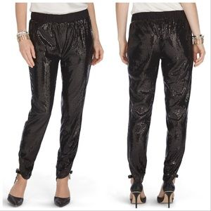 WHBM Sequin Black Tapered Pants